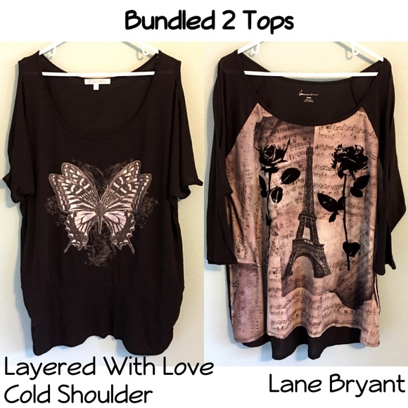 Bundled 2 Tops Butterfly Eiffel Tower Roses Music